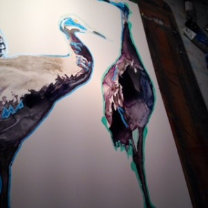 My Sandhill Cranes coming to life in the studio; watercolor on yupo.